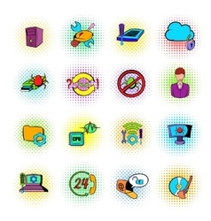 Technical support icons comics style vector