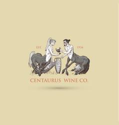 two centaurus sharing wine logo hand vector image