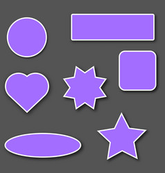 violet stickers with white stroke vector image
