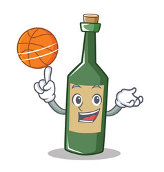 with basketball wine bottle character cartoon vector image