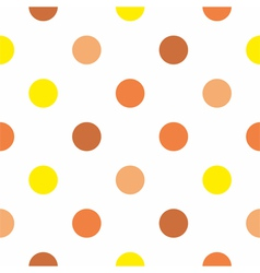 Yellow and brown polka dots on white background vector image