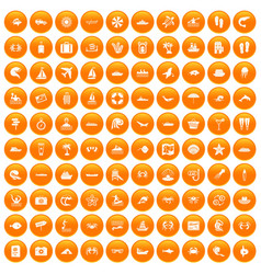 100 sea life icons set orange vector