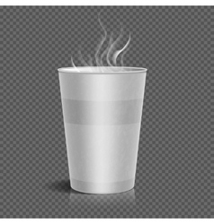 Disposable takeaway paper coffee cup with steam vector