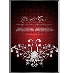 greeting red background with butterfly vector image