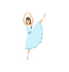 Balleria in blue dress doing leg swing performing vector