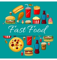 Fast food meal icons for emblem design vector