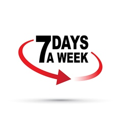 Seven days red vector