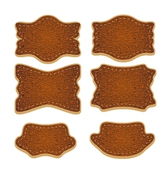 Set of leather labels isolated vector