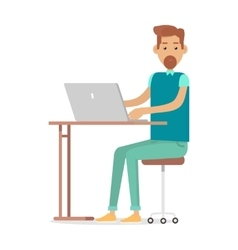 Man with beard sitting at desk working on notebook vector