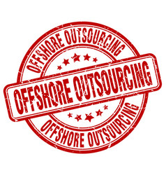 Offshore outsourcing red grunge stamp vector