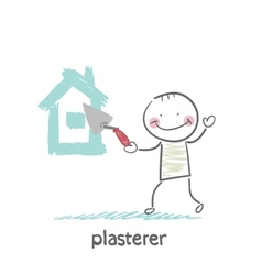 Plasterer paints cement house vector