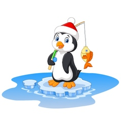 Cartoon of penguin fishing vector