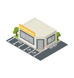 Isometric supermarket building icon vector
