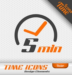Time icon 5 minutes symbol design elements vector