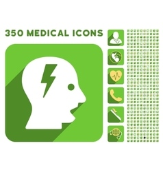 Shouting head icon and medical longshadow icon set vector