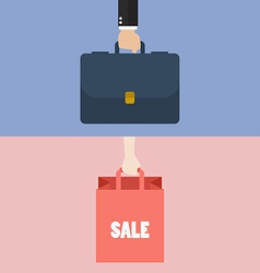 Male hand holding briefcase and female hold vector