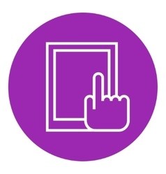 Finger pointing at tablet line icon vector
