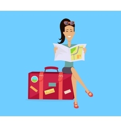 Traveling with baggage concept vector