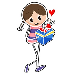 A girl holding a blue gift box vector image vector image
