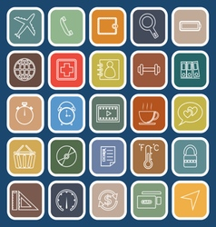 Application line flat icons on blue background Set vector image