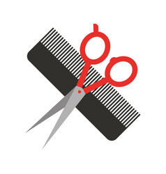 barbershop comb with scissor isolated icon vector image vector image