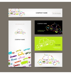 Business cards collection with cars sketch for vector