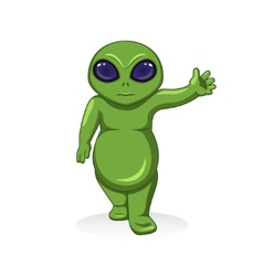 Cartoon green alien extraterrestrial character vector