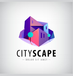 City buildings 3d colorful modern logo vector