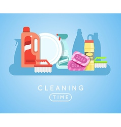 Cleaning tools set detergents for cleaning home or vector