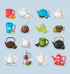 colorful tea icons set vector image