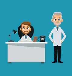 Doctor professional sitting desk vector