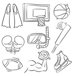 doodle of equipment sport collection vector image vector image
