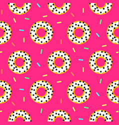 Doughnut white on pink sweet seamless pattern vector