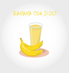 Glass of bio fresh banana juice vector
