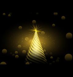 golden christmas tree background vector image