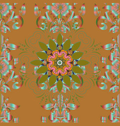Hand painted mandala colored on brown green and vector