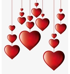 Hearts hanging white background vector
