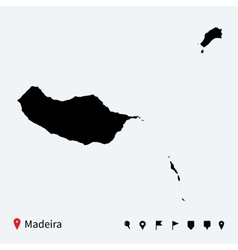 High detailed map of madeira with navigation pins vector