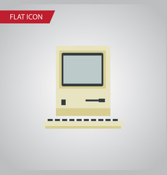Isolated retro notebook flat icon computing vector