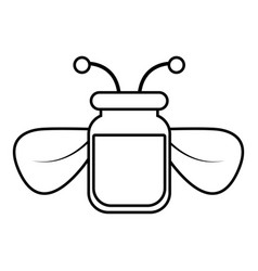Jar of bee honey icon outline style vector