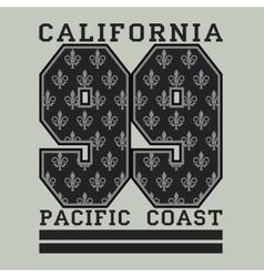 Los angelis ca fashion typography pacific coast vector