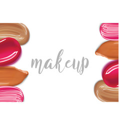 Makeip foundation and lipstick smear strokes vector