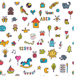 seamless pattern for cute little girls and boys vector image