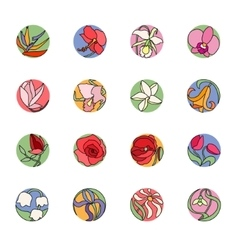 Set with round floral icons Colored black vector image