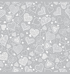 silver grey doodle hearts seamless pattern vector image