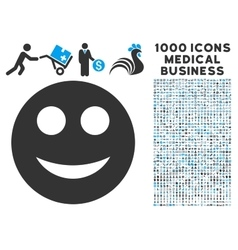 Smile Icon with 1000 Medical Business Pictograms vector image