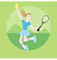 Sporty girl tennis player with racket vector