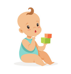 sweet little baby sitting and playing with cubes vector image
