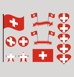 switzerland flag set collection of symbols heart vector image vector image