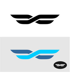 Two lines intersected as wings title logo vector